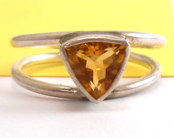 Citrine Genuine Recycled Trillion Gemstone Sterling Silver Ring November Birthstone