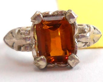 Citrine Genuine Recycled Oval Gemstone Sterling Silver Ring November Birthstone