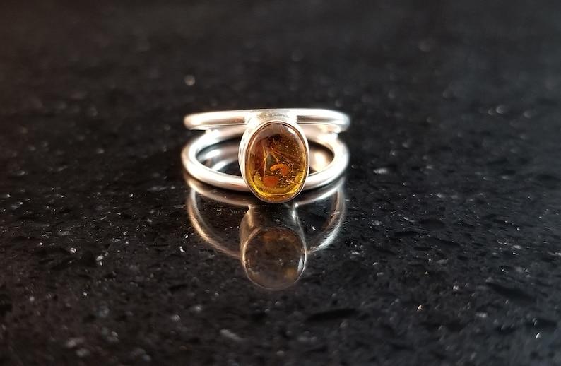 Amber Baltic Amber Genuine Gemstone Mosquito Sterling Silver Hand Fabricated Tree Sap Natural Gemstone