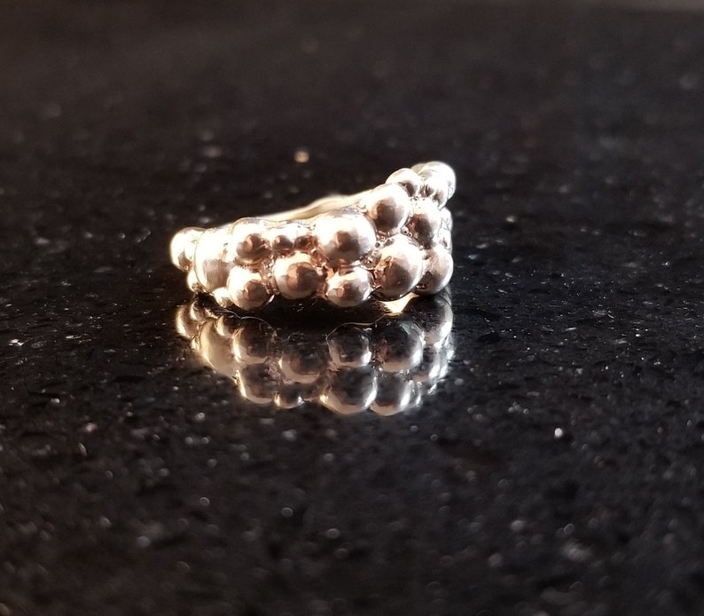 Sterling Silver Ring Bubbles Texture Unique Band