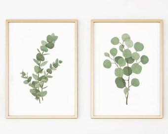 Set of 2 Botanical Prints Eucalyptus Leaf Art Watercolor Botanical Pair Two Double