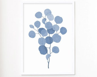 Indigo Blue Botanical Print Eucalyptus Leaf Watercolor Wall Art Poster Print