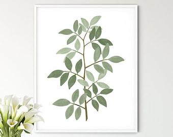 Botanical Print Leaf Stem, Painted Plant Art for Bedroom Kitchen Bathroom Picture, Green