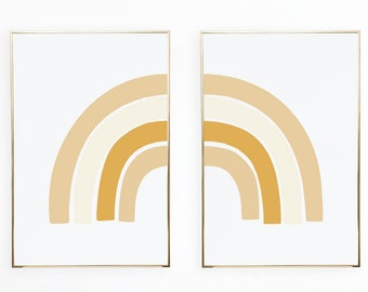 Double Rainbow Wall Art Poster Prints, Gender Neutral Rainbow Colors Earth Tone Decor Boho Rainbow College Dorm (Pair Set of 2)