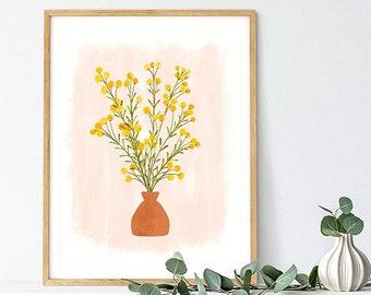 Botanical Print Boho Earth Tones Art Print Yellow Flower Bohemian Floral Neutral Colors