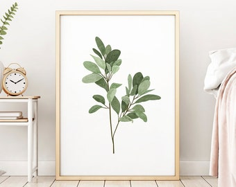 Leafy Green Botanical Art Print Stem, Bedroom Kitchen Bathroom Picture, Many Sizes