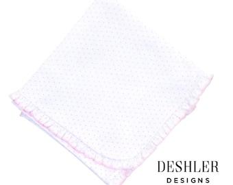 Magnolia Baby Pink Dot Blanket, Pink Mini Dot Blanket, Magnolia baby blanket, magnolia baby ruffle blanket