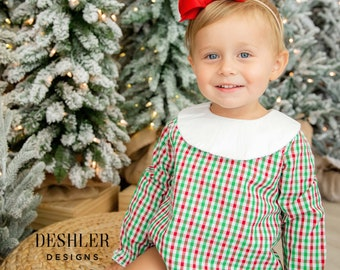Baby Girls Christmas outfit, Bishop Bubble, Girls Bishop Bubble, Christmas Bishop Bubble, Monogram Bishop, Monogram bishop bubble,