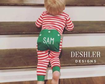 Christmas Pajamas, Christmas pjs, monogram Christmas pjs, monogram kids pajamas, monogram butt flap pajamas, monogrammed butt flap pjs