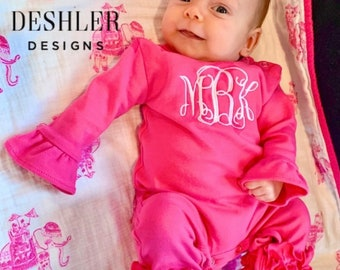 Girls First Birthday outfit, first birthday outfit, monogrammed first birthday outfit, monogram first birthday outfit, one birthday outfit