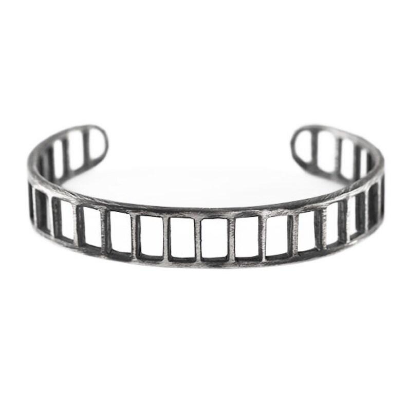 13385c6f038 Mens Bracelet Silver Brushed Oxidized Antique Bars Cuff | Etsy