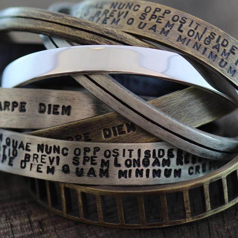 1d8e774b562 Oxidized Silver Cuff Bracelet Mens Stamped Brushed Matte | Etsy