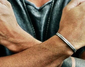 Mens Silver Bracelet - Man Silver Jewellery - Mens Engraved Bracelet - Cuff Bracelet Man - Bracelet Man - Rustic Cuff Bracelet