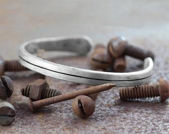 Rustic Mens Bracelet - Custom Bracelet Engraved - Silver Cuff Bracelet Men - Mens Jewelry