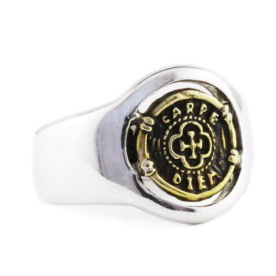 6ce98955a316a Gold Signet Ring 14k Coin Man Personalize Jewelry Carpe Diem Rings