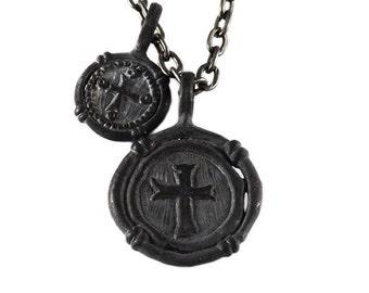 Black Mens Necklace Wax Seal Cross Pendant Man Jewellery