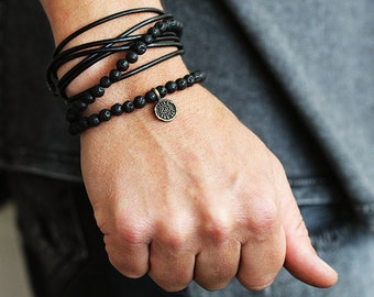 Mens Leather Bracelet Gold Carpe Diem Jewelry Man Wrap Lava Bracelets