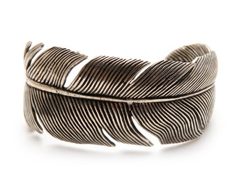 Silver Feather Cuff Sterling Bracelet Bangle Feathers Cuffs
