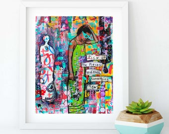 Pick Up the Pieces Giclee Mixed Media Art Print
