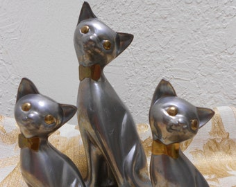 "MCM Cats Mixed Metal 3 Siamese Figures Eames Era ""Hollywood Regency"" Mid Century Modern Set Of 3 Atomic Cuties"