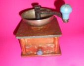 Coffee Grinder Rustic German Farmhouse Antique - Hand Painted German Primitive Hand Crank Style