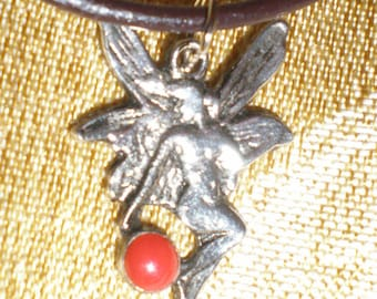 Art Nouveau Fairy Necklace Dragonfly Nymph Sterling Silver With Red Sea Coral Gemstone Necklace On Leather Cord