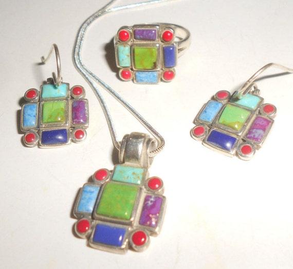 Gaspeite Turquoise Cross Multi-Stone Parure Set Navajo Jewelry Set Pendant-Earrings /& Ring Gaspeite-Lapis-Coral-Sugalite-Sterling Tribal