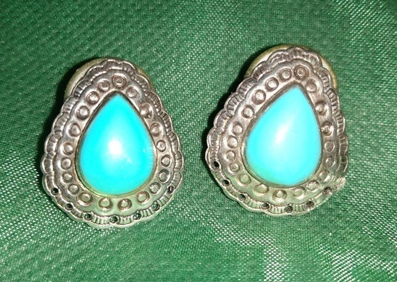 Bisbee Turquoise Studs-Larger Sized Harvey Era Earrings Stamped Sterling Silver-Vintage Signed Navajo Pierced Post-Back Unisex Beauties