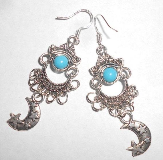 Wixine 2Pairs Vintage Boho Tibetan Silver Turquoise Silver Turquoise Gemstone Drop Dangle Hooks Women Earrings Jewelry Gift