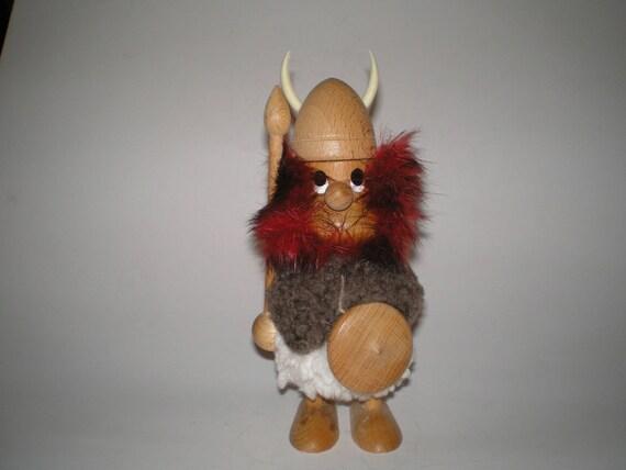 Danish Red Viking 7 Inch Hans Bolling Style Fur Teak Wood Viking Figurine Mcm Scandinavian Design Wooden Collectible Character Figure