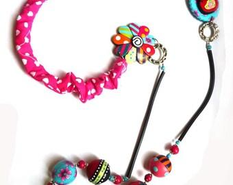 """Flower and polymer """"Gypsy spirit"""" matryoshka necklace"""