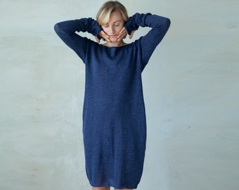 Linen knit dress long sleeved knit tunic dress with thumb holes - navy blue summer midi dress