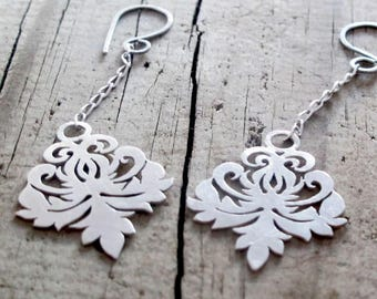 Dangle Earrings, Drop Earrings, Damask Earrings, Chandelier Earrings, Sterling Silver Damask Drop earrings, Recycled Silver Victorian Damask