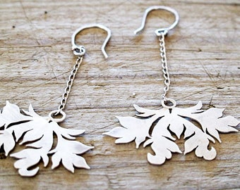 Dangle Earrings, Chandelier Earrings, Victorian Damask Drop silver earrings, Sterling Silver Damask earrings, Recycled silver Earrings
