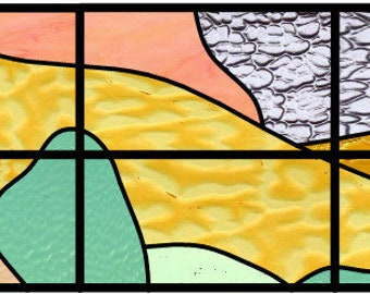 Burton Landscape abstract stained glass pattern design