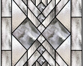 Chevron Star clear textured leaded glass design pattern