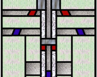 Chebi Mission Arts and Crafts stained glass panel design pattern