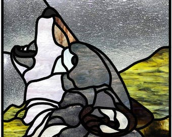 Wolf stained glass pattern stained glass design