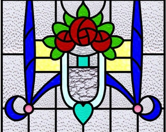 MacIntosh Roses with Heart and Swags stained glass design pattern Arts and Crafts
