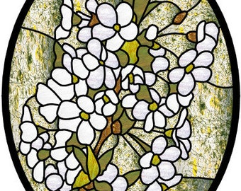 Pear Blossoms stained glass pattern design spring