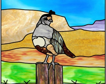 Desert Quail stained glass pattern stained glass design Southwestern SW