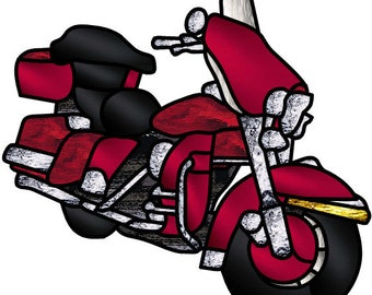 Red Motorcycle stained glass pattern design
