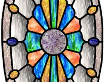Garvin stained glass oval jewels pattern design