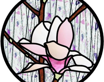 Tulip Magnolia Tree blossom stained glass PATTERN DESIGN