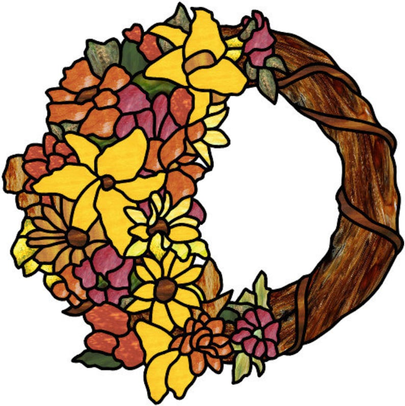 Autumn Wreath stained glass pattern design image 1