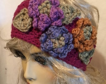 Colorful Headband Earwarmer Assorted Flowers...Button in the Back...Fuscia