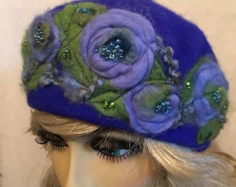 Needle Felted Royal Blue Beret....Blue and Green Needle Felted Flowers on a Wool Beret and Embellished with Beads