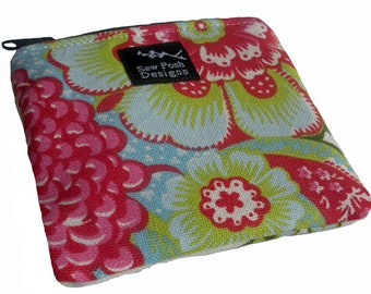 White Green Pink Flowers Coin Zipper Pouch Small Wallet Purse Key Fob Shalini