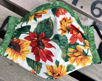 Fall Sunflowers Leaves Reversible Women's Girls Fabric Mask Washable Pleated Nose Wire Adjustable Ear Loops Free Ship