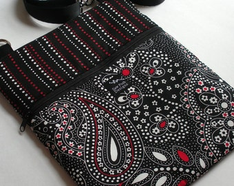 Black White Red Paisley Dots Stripes Fabric iPad Air Pro Passport Travel Messenger Hip Passport Bag Sling Washable